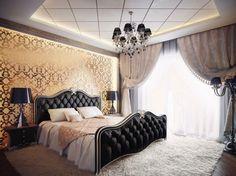 papier peint de couleur or, faux plafond moderne, lit en cuir capitonné, tapis shaggy et lustre Romeo