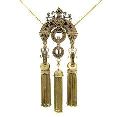 Fine Antique Taille d'Epargné Black Enamel Victorian Foxtail Tassel Pendant / Brooch / Chatelaine | Memento Mori Mourning Jewelry Necklace