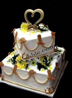 cowboy country wedding cake ideas | ... Lasso style ropes made of sugar for this Western themed wedding cake