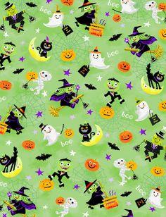 Holiday Inspirations Halloween Fabric- Fun Night GreenHoliday Inspirations Halloween Fabric- Fun Night Green,