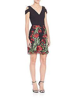 Aidan Mattox Cutout Shoulder Floral Skirt Dress