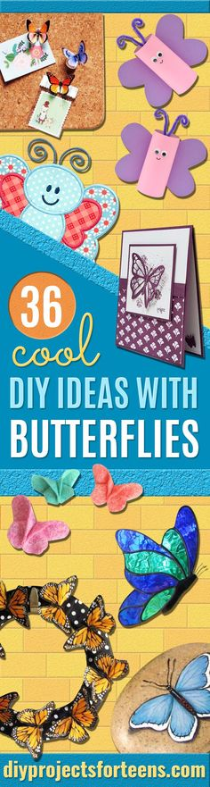DIY Ideas With Butterflies - Cute and Easy DIY Projects for Butterfly Lovers - Wall and Home Decor Projects, Things To Make and Sell on Etsy - Quick Gifts to Make for Friends and Family - Homemade No Sew Projects- Fun Jewelry, Cool Clothes and Accessories Easy Diy Projects, Easy Crafts, Sewing Projects, Decor Crafts, Cool Diy, Fun Diy, Diy Papillon, Diy Blanket Ladder, Diy Christmas Gifts For Family