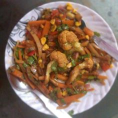 Amazing stir fried veggies in Mexican sauce.