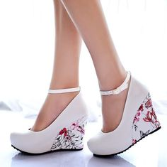 Ankle Strap High Heels Wedges Platform Pumps Shoes