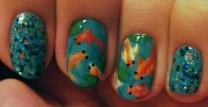 Base: China Glaze Flyin' High  Glitter: Rainbow Honey Koi Pond (topped with NYS Hot baby Blue)  Fish: WnW White Creme, WnW Black Creme, Zoya Arizona, FingerPaints Cordur-OrangeVenique Havana Glam (for sparkle), WnW Break the Ice (for sparkle)  Lilypads: Sinful Last Chance, NYC High Line Green  Water rings: Essence LEt's Get Lost (dabbed with acetone)