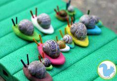 Escargots coquillages et pâte à modeler