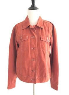 Royal Robbins E4 Womens Outdoor Jean Jacket Size M Collar Button Down Fit Orange #RoyalRobbins #DenimJacket #Outdoor