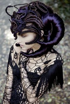 inSANE headdress - looks completely made from thread. purple, black, horns, crochet, macrame, lace