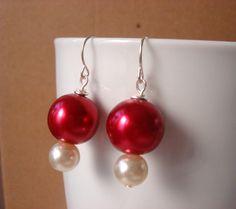 Bridal Pearl Earrings Deep Pink & Ivory Pearl by ScarlettRose. $10.00, via Etsy.
