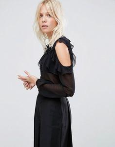 Such a pretty black off-shoulder blouse