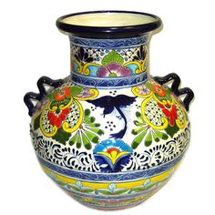Talavera Vase with Handles ‍♀️‍♀️Talavera ‍♀️Puebla Mexico‍♀️More Pins Like This At FOSTERGINGER @ Pinterest ‍♀️