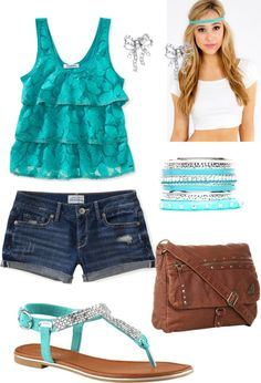 """""""#trendy #turquoise #summer"""" by serenahilton on Polyvore"""