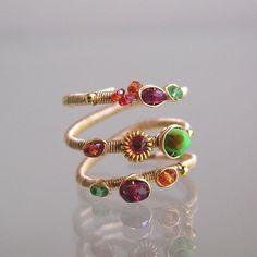 14k Gold Filled Multi Gemstone Wraparound Ring with Sapphires
