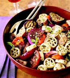 Warm pasta salad with grilled veggies and turkey sausage