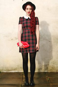Asos Hat, Primark Tartan Dress, Ebay Lip Clutch, Dr. Martens Shoes