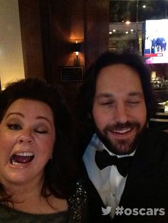This photo of Paul Rudd and Melissa McCarthy: | 19 Oscar Moments You Didn't See LastNight - Also, #19 is pretty awesome and makes me like Bradley Cooper even more