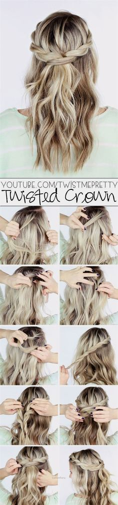 Lovely Boho braid crown: This gorgeous half-up style incorporates twisted braids while letting hair cascade down — and it only takes a handful of minutes to master. Whether you have short or long locks, this easy breezy summer style will work for you and can be worn from d ..
