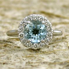 14k White Gold Aquamarine Diamond by AdziasJewelryAtelier on Etsy, $1565.00