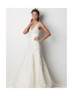 Organza V-neck A-Line Gown with Embroidery Accent Style - Bridal Gowns - RainingBlossoms