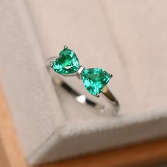 Emerald ring sterling silver engagement ring May birthstone promise ring for her multistone ringhear cut emerald Cute Rings, Pretty Rings, Beautiful Rings, Bow Rings, Halo Rings, Cute Jewelry, Jewelry Rings, Silver Jewelry, Jewelry Accessories
