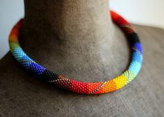 Rainbow Necklace Chunky Rope Necklace Patchwork by HeriniaJewelry