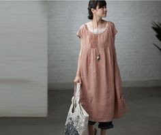 Maxi robe longue ample - Robe d'été en rose - (R) (0329) manches courtes Robe en lin pour les femmes