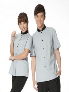 Đồng phục phục vụ 009. Size: S,M,L,XL. Màu sắc: Xám, Đen.  Chất liệu vải tốt, bền đẹp, đường may sắc sảo. LH: 0908149946 - Email: dongphucphuhoang@gmail.com Chef Jackets, Button Down Shirt, Men Casual, Mens Tops, Shirts, Fashion, Moda, Dress Shirt, La Mode