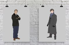 ♥♥ Hello, thanks for visiting worksbeautifully! ♥♥  This is a listing for 2 hand drawn prints of Sherlock Holmes and John Watson from the BBC adaptation, Sherlock!