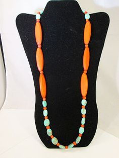Red Blue Wood Dyed Turquoise Long Beaded Necklace by FLcowgirls, $36.98