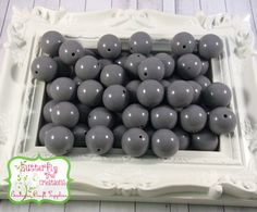 20mm Grey chunky acrylic bubblegum beads - Gumball beads - chunky necklace supply - UK SELLER