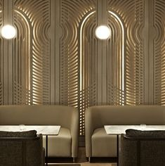 deco wall detail Restaurant-club Anjélique by Autoban Restaurant Banquette, Restaurant Club, Luxury Restaurant, Restaurant Interior Design, Commercial Interior Design, Commercial Interiors, Hotel Alger, Deco Cafe, Bar Design