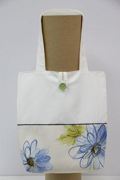 Handmade Shopping Bag, Shopping bag, Tote Bag. Blue flowers shopping bag. Flowers shopping bag