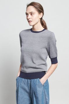 Shop for Vanishing Elephant Knitwear for Women | Lightweight Sweater in Navy/White Pattern | Incu