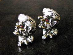 Figural Profile Silver Tone Enamel Cuff Links by dazzledbyvintage