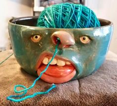 Yarn bowl see more atLuckySomething13 on etsy https://www.etsy.com/listing/172491982/wheel-thrown-hand-altered-and-sculpted
