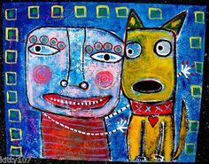 """""""I Loves Ya, Boy"""" Original acrylic/collage painting created by Tracey Ann Finley.....I love Yellow Dogs!"""