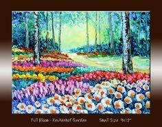 Flower Garden Landscape Oil Painting Tulip Garden  by NuFineArt5, $85.00