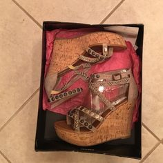 NEW Steve Madden Studded Taupe Suede Sandal 8.5 New in box! Never worn except for pictures. Steve Madden taupe suede strappy cork wedge sandals. The suede straps are covered with brass and gold studs and beads. Super cute shoes. Size 8.5 Steve Madden Shoes Sandals
