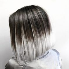 """30 Best Short Ombre Hair Color Inspirations for Trendy Bean Ombre's trend coloring, which came into fashion several seasons ago, beats all records in popularity. From French, """"ombre"""" is trans Grey Ombre Hair Short, Black To Silver Ombre, Ombre Bob Hair, Blonde Ombre Hair, Silver Ombre Hair, Bob Hair Color, Hair Color Streaks, Ombre Hair Color, Short Hair With Color"""