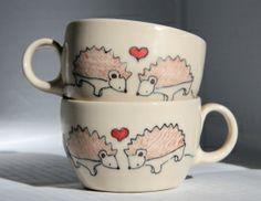 Hedgehog teacups by Abby Berkson Ceramics
