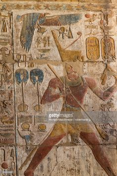 Stock Photo : Colorful bas-relief, Ramses II, Luxor Temple, Luxor, Thebes, UNESCO World Heritage Site, Egypt, North Africa, Africa