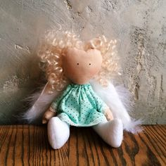 Doll handmade Doll toy Doll tilda Doll in dress by YourGattino Doll Toys, Baby Dolls, White Wings, Handmade Toys, Unique Gifts, Teddy Bear, Trending Outfits, Unique Jewelry, Happy