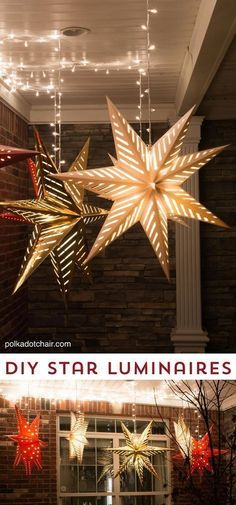 Hanging Star Lanterns – Christmas Front Porch Decor Idea - 13 Magical Indoor and Outdoor Christmas Lights Decor Ideas #christmaslightsindoordecor #christmaslightsideas #christmaslightsoutdoorideas #indoorchristmasdecor #christmasdecor #outdoorchristmasdecorations #outdoorchristmaslights