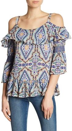 c3c077e7f1431 Democracy Cold Shoulder Flounce Blouse Shoulder Tops