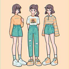 Sunny skies ✨💫🌻 Which would you wear? (Or mix n match? Kawaii Drawings, Cute Drawings, Drawing Sketches, Arte Do Kawaii, Kawaii Art, Cute Art Styles, Cartoon Art Styles, Arte Copic, Drawing Anime Clothes
