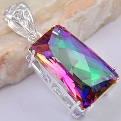 Gorgeous Natural Mystic Topaz Pendant Mounted in Silver 1 3/4 in FREE SHIPPING #Pendant