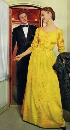 Balenciaga 1953 designer couture color photo print ad 50s yellow long dress gown brocade wide round collar 3/4 sleeves bright