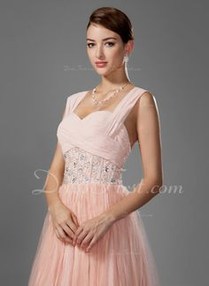 A-Linie/Princess-Linie Herzausschnitt Bodenlang Chiffon Abiballkleid mit Perlen verziert Gefaltet (018005043)