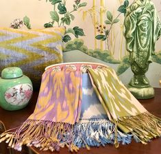 It's April. Time to pull out all the pastels! Ikat Fabric, Pastels, Pillows, Crafts, Design, Home Decor, Manualidades, Decoration Home, Room Decor