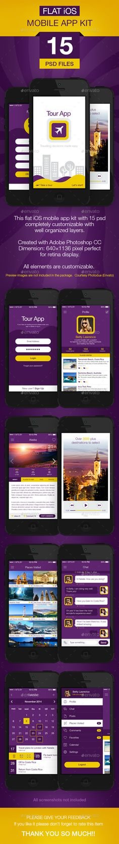 Flat iOS App UI (User Interfaces)
